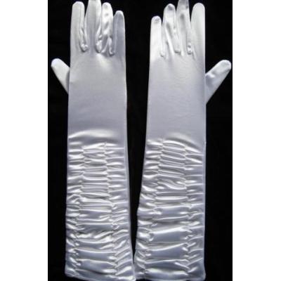 Bílé saténové prstové rukavičky s nařasením