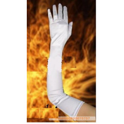 Smetanové dlouhé saténové prstové rukavičky