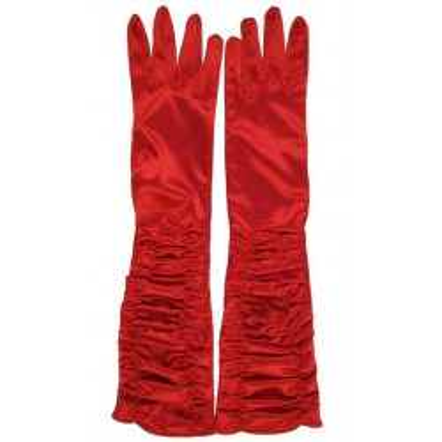 Červené saténové prstové rukavičky s nařasením