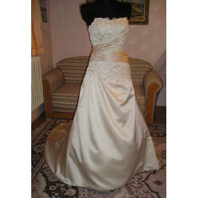 Saténové svatební šaty s vlečkou - velikost 40