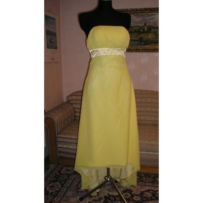 Dlouhé žluté šifonové šaty