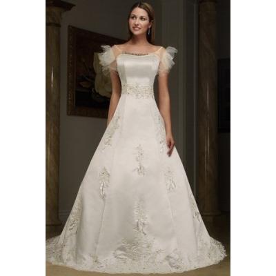 Plesové nebo svatební šaty s odpínací vlečkou - velikost M