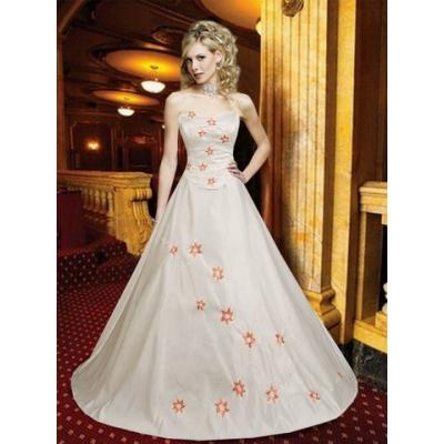 Svatební šaty zdobené výšivkou, s odpínací vlečkou - velikost L