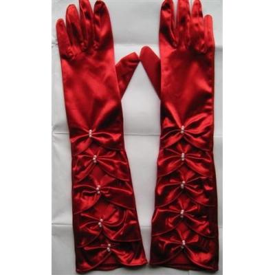 Červené saténové prstové rukavičky