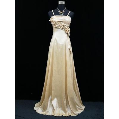 Béžovo zlaté dlouhé společenské šaty