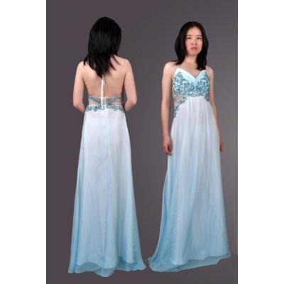 Elegantní dlouhé bleděmodré šaty
