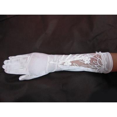 Saténové prstové rukavičky s krajkou