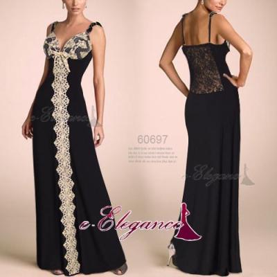 Černé společenské šaty s krajkou