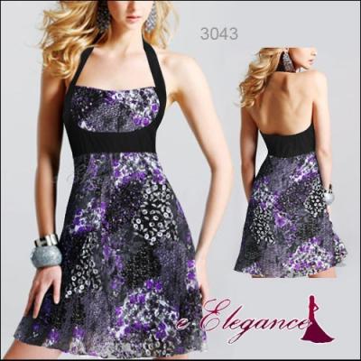 Fialovo černé koktejlové šaty