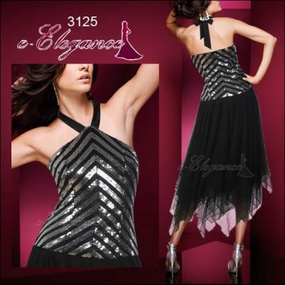Černo stříbrné společenské šaty