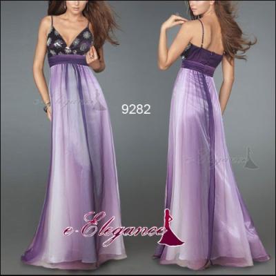 Duhové dlouhé společenské šaty