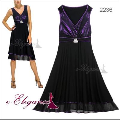 Černo fialové koktejlové šaty