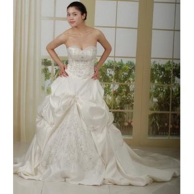 Saténové svatební šaty s vlečkou - velikost M