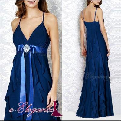 Tmavě modré společenské šaty