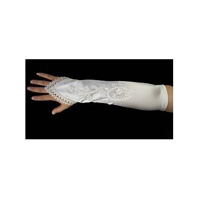 Smetanové rukavičky s krajkou