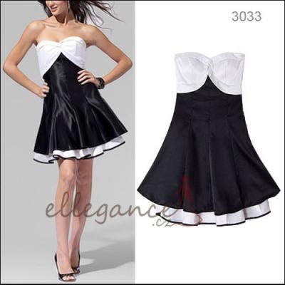 Černo bílé koktejlové šaty