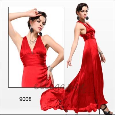 Červené společenské šaty s vlečkou
