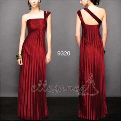 Dlouhé červené plizované šaty