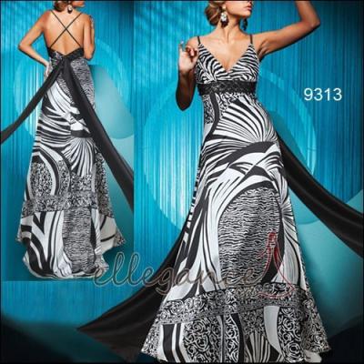 Černo bílé společenské šaty s vlečkou