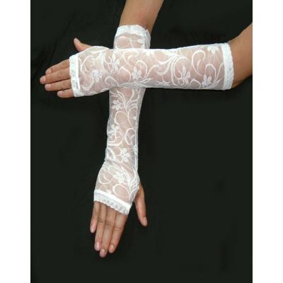 Bílé krajkové rukavičky