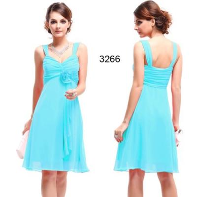 Šifonové světle modré koktejlové šaty