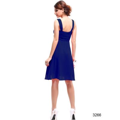 Šifonové modré koktejlové šaty