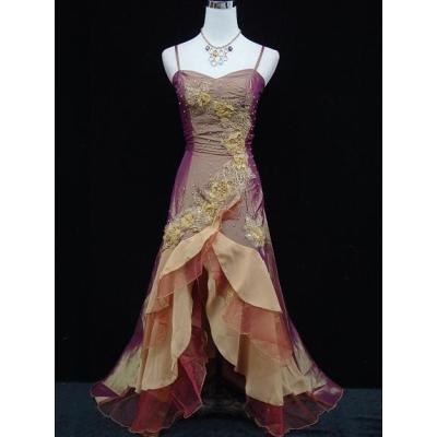 Zlatavo měděné společenské šaty s volány