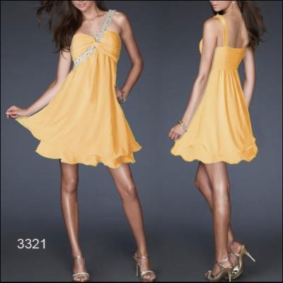 Žluté koktejlové šaty