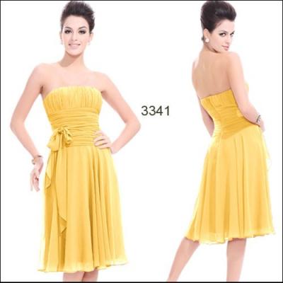 Šifonové žluté koktejlové šaty