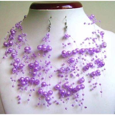 Fialkový perličkový náhrdelník s náušnicemi