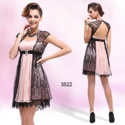 Černo růžové koktejlové šaty s krajkou