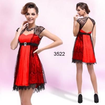 Červeno černé koktejlové šaty s krajkou