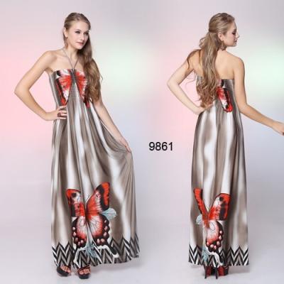 Dlouhé šaty s motivem motýla