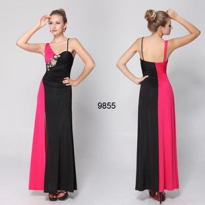 Černo růžové dlouhé šaty
