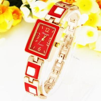 Červeno zlaté náramkové hodinky