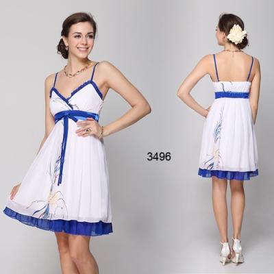 Bílo modré koktejlové šaty