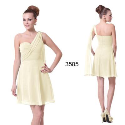 Světle žluté koktejlové šaty