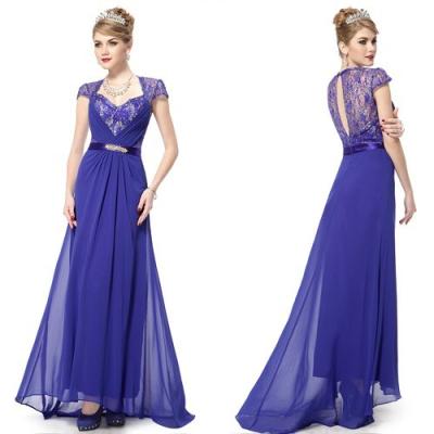 Modré slavnostní šaty s vlečkou