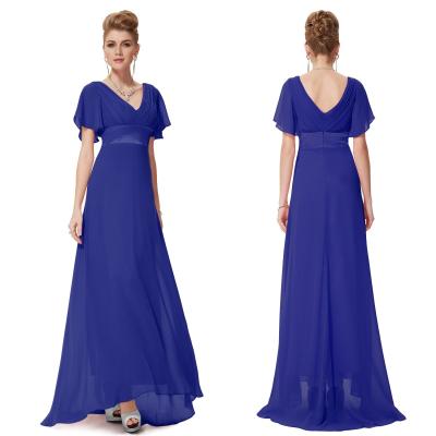 Modré dlouhé společenské šaty s rukávky
