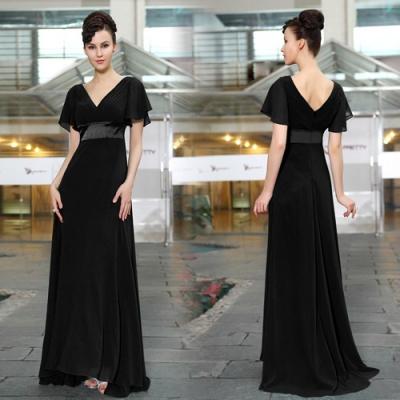 Černé dlouhé společenské šaty s rukávky