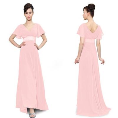 Růžové dlouhé společenské šaty s rukávky