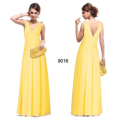 Dlouhé žluté společenské šaty