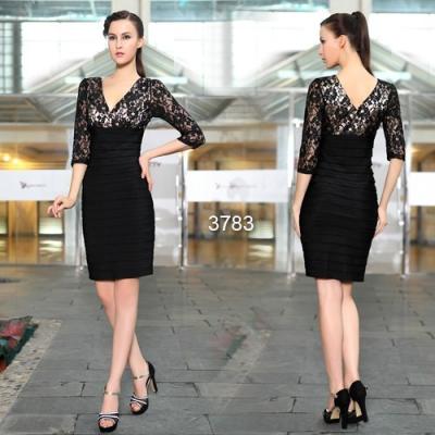 Černo béžové koktejlové šaty s rukávy