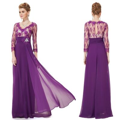 Dlouhé fialové večerní šaty s rukávy