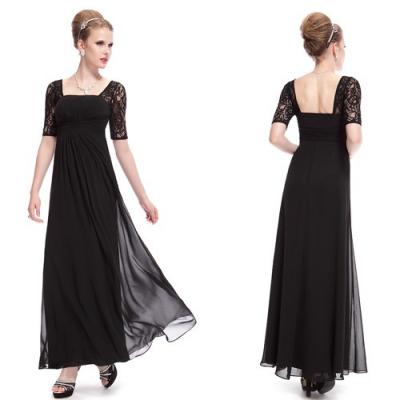 Dlouhé černé večerní šaty s krátkými rukávy