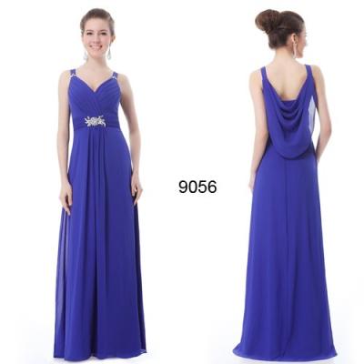 Modré šifonové společenské šaty