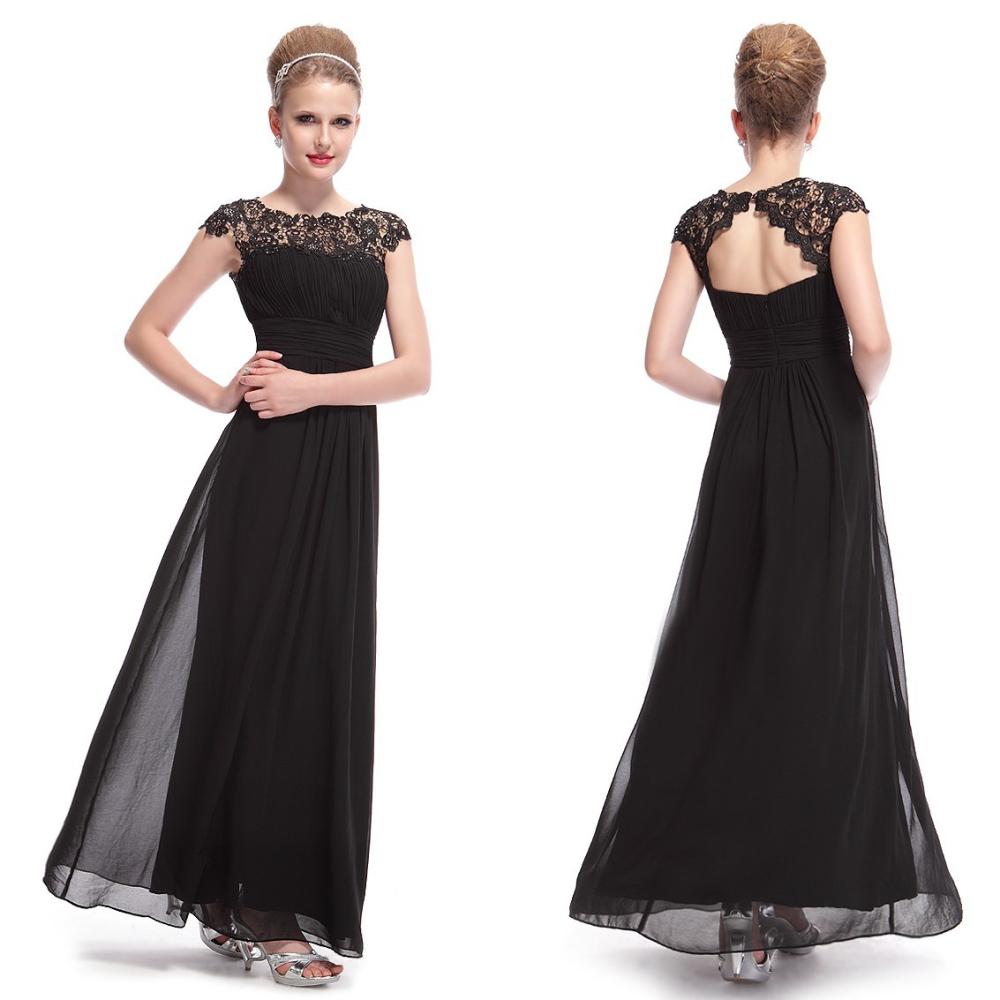 80874d83aa6d Ever-Pretty Dlouhé černé společenské šaty s krajkou