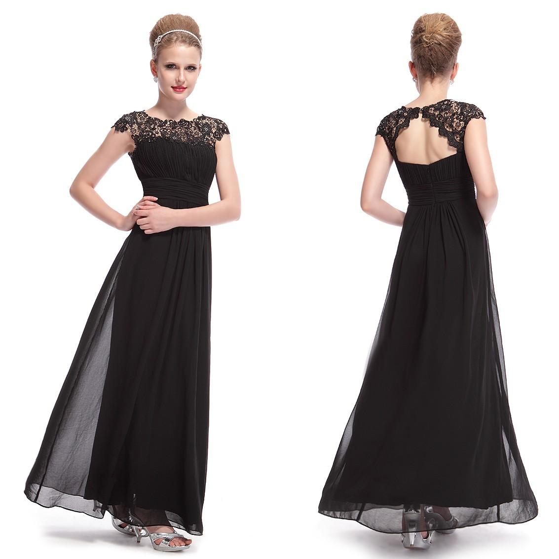 Ever-Pretty Dlouhé černé společenské šaty s krajkou 207ab8bcb6a