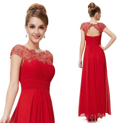 Dlouhé červené společenské šaty s krajkou