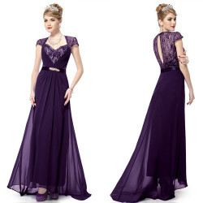 Fialové slavnostní šaty s vlečkou